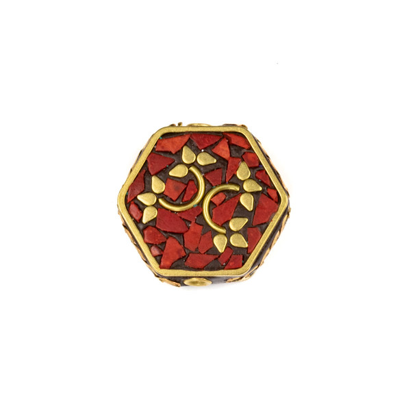 Tibetan Brass 24mm Hexagon Bead with Leafy Vines and Red Coral Inlay - 1 per bag