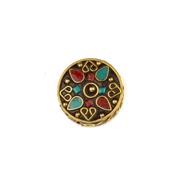 Tibetan Brass 22mm Coin Bead with Hearts and Red Coral and Turquoise Howlite Teardrop Inlay - 1 per bag
