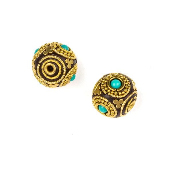 Tibetan Brass 16mm Round Bead with Circles, Clover, and Turquoise Howlite Inlay - 1 per bag