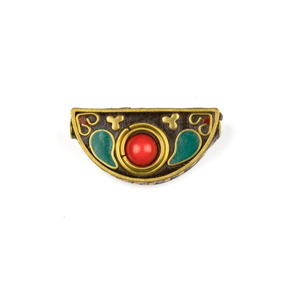 Tibetan Brass 16x31mm Fan Bead with Hearts, Clovers, Turquoise Howlite Paisley Shapes, and Red Coral Round Inlay - 1 per bag