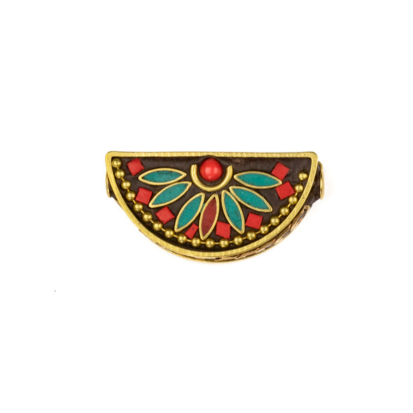 Tibetan Brass 16x31mm Fan Bead with Turquoise Howlite Marquis, Ball Chain, and Red Coral Round Inlay - 1 per bag