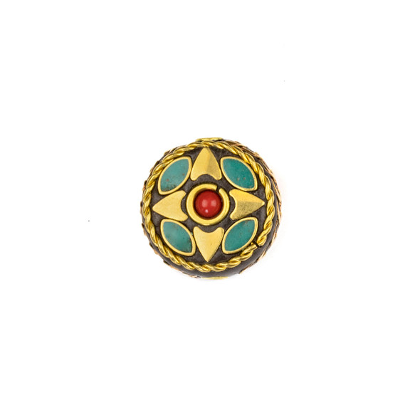 Tibetan Brass 19mm Coin Bead with Hearts, Turquoise Howlite Marquis, and Red Coral Round Inlay - 1 per bag