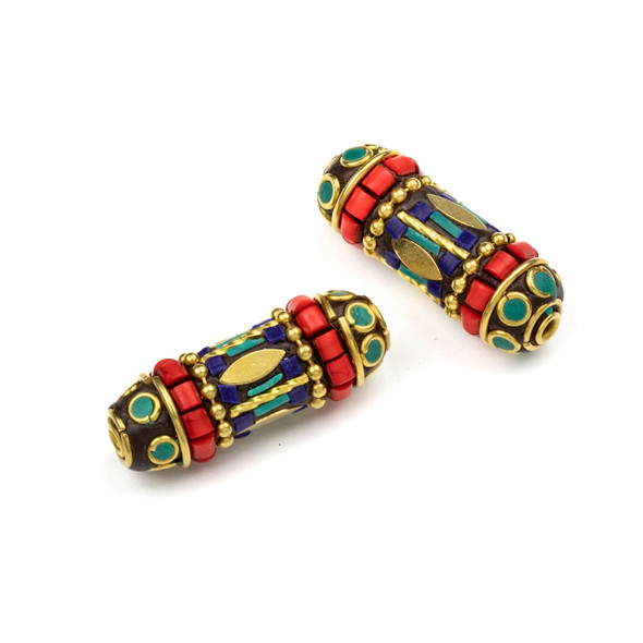 Tibetan Brass 12x35mm Tube Bead with Marquis, Ball Chain, and Lapis, Red Coral, and Turquoise Howlite Inlay - 1 per bag