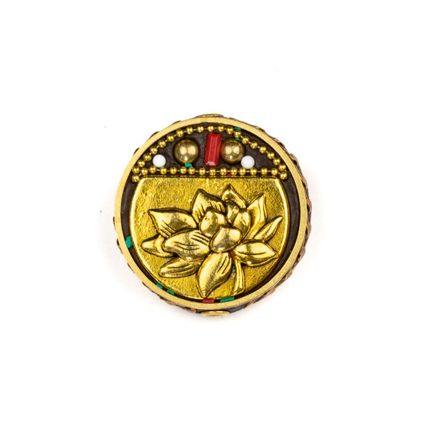 Tibetan Brass 30mm Coin Bead with Lotus Flower and Red Coral Inlay - 1 per bag