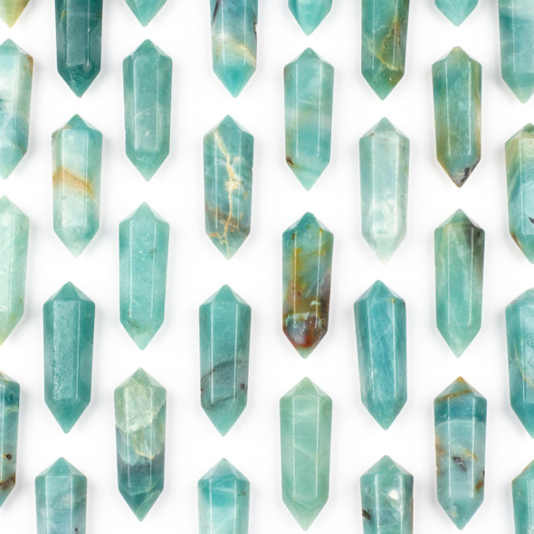 Amazonite 17x50mm Top Drilled Double Terminated Hexagonal Point Pendant - 1 per bag