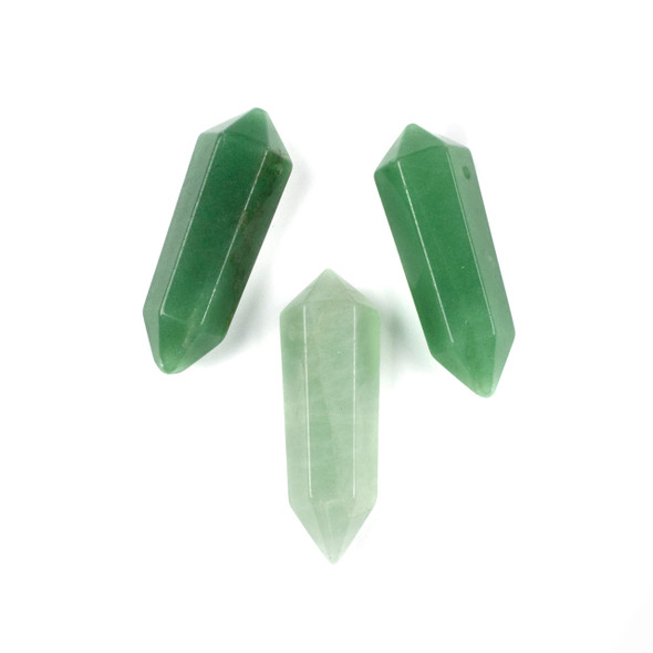 Green Aventurine 17x50mm Top Drilled Double Terminated Hexagonal Point Pendant - 1 per bag