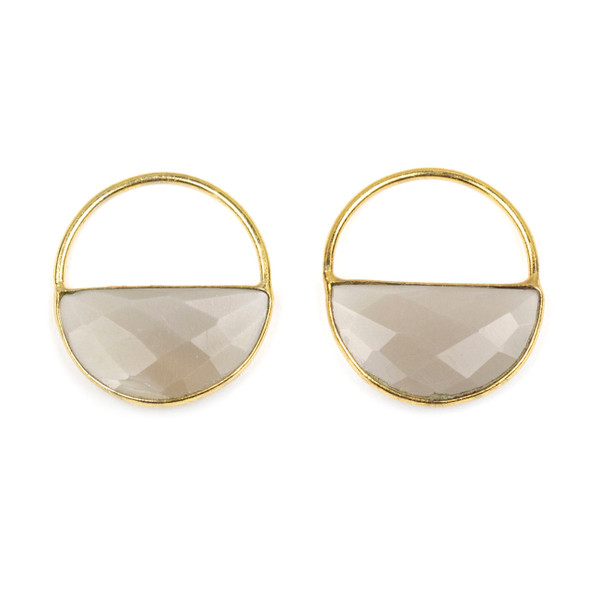 Grey Moonstone 25x28mm Semi Circle Component with a Gold Plated Bezel and Hoop - 2 per bag