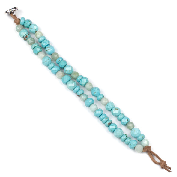 Turquoise Howlite Button Bracelet Kit - bkit-027