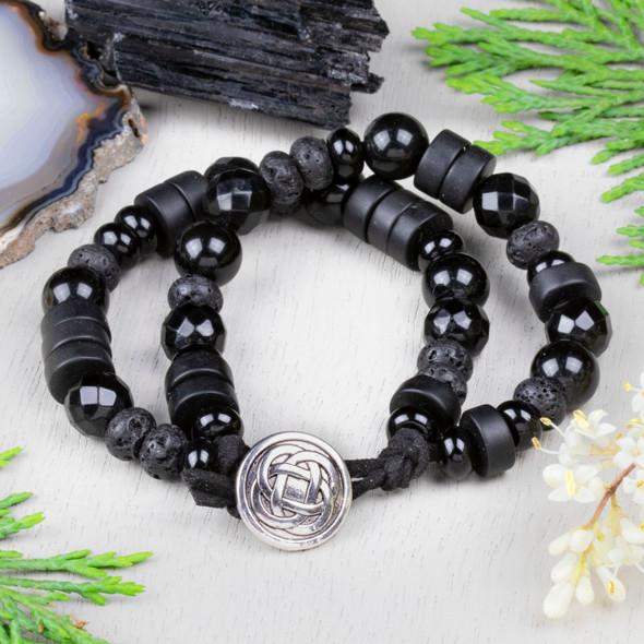 Black Obsidian Button Bracelet Kit - bkit-029