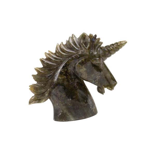 Carved Labradorite Unicorn Head Specimen -  #1