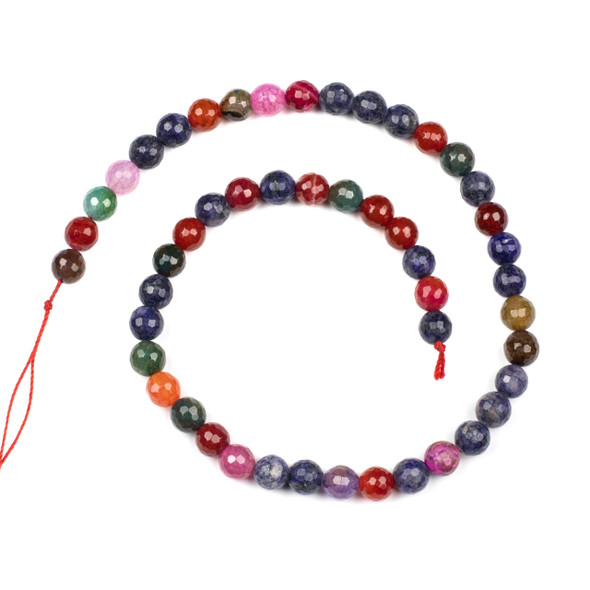 Cracked Agate 8mm Faceted Rounds in a Plum Mix - 15.5 inch strand