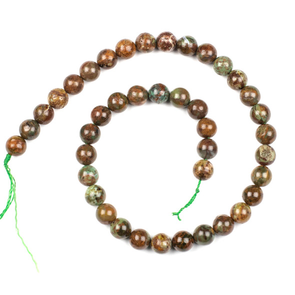 African Green Opal 10mm Round Beads - 15 inch strand