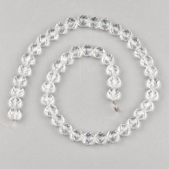 Clear Quartz 10mm Faceted Round Beads - 15 inch strand