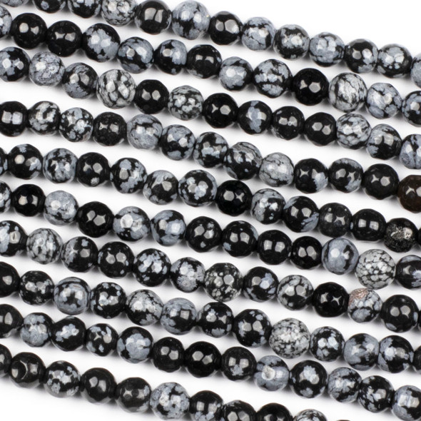 Snowflake Obsidian 6mm Faceted Round Beads - 14.5 inch strand