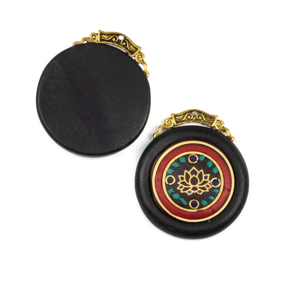 Tibetan Brass 10x19mm Tube Bead with Tibetan Characters, Semi Circles,and Red Coral Inlay - 1 per bag