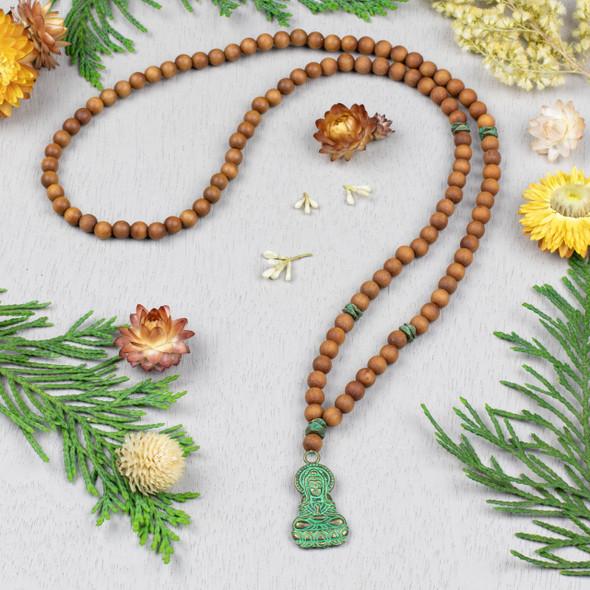 Sandalwood and Green Bronze Mala Style Necklace Kit - Style #1
