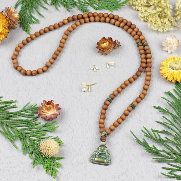 Sandalwood and Green Bronze Mala Style Necklace Kit - Style #2