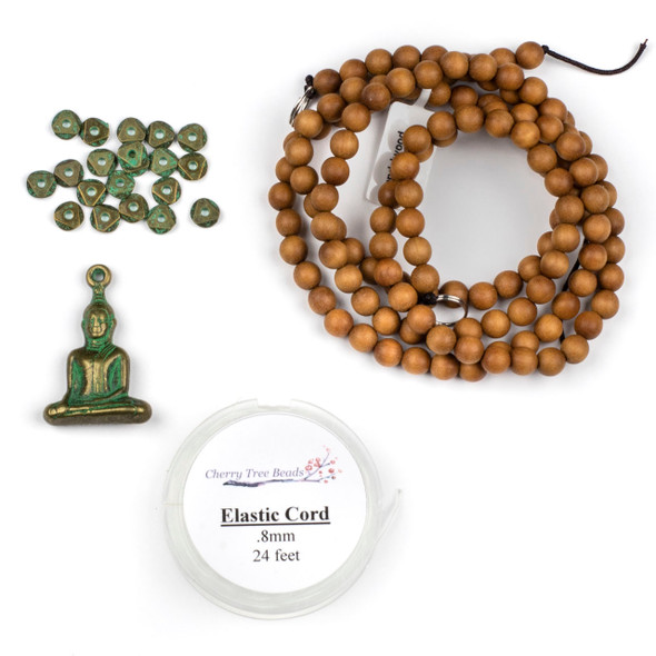 Sandalwood and Green Bronze Mala Style Necklace Kit - Style #3