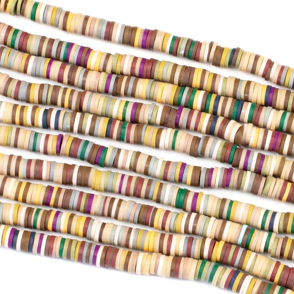 Polymer Clay 1x6mm Heishi Beads - Burgundy & Yellow Mix #3, 15 inch strand