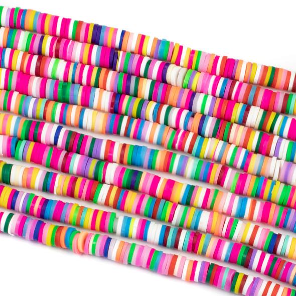 Polymer Clay 1x6mm Heishi Beads - Vivid Rainbow Mix #27, 15 inch strand