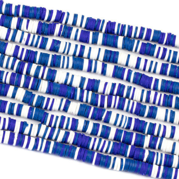 Polymer Clay 1x6mm Heishi Beads - Blue and White Mix #15, 15 inch strand