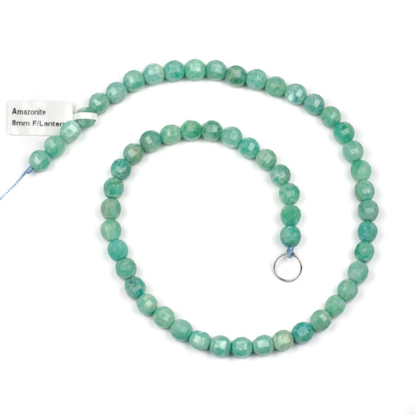 Amazonite 8mm Faceted Lantern Round Beads - 15 inch strand