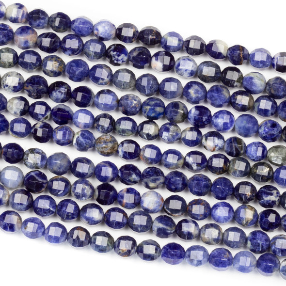 Sodalite 6mm Faceted Lantern Round Beads - 15 inch strand