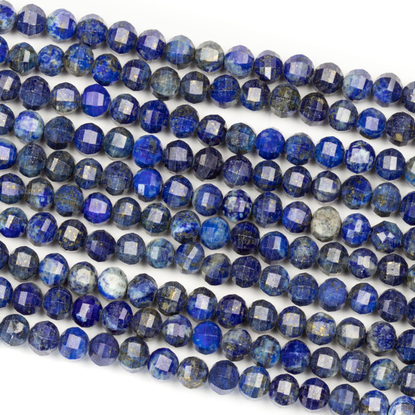 Lapis 6mm Faceted Lantern Round Beads - 15 inch strand