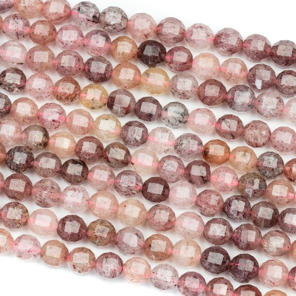 Strawberry Quartz 6mm Faceted Lantern Round Beads - 15 inch strand