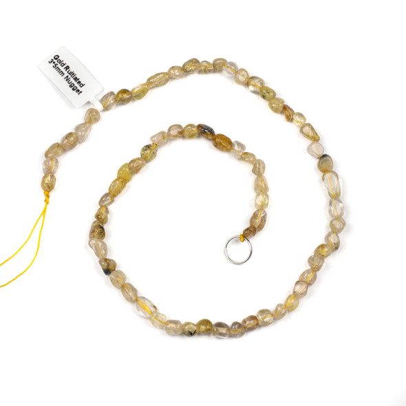 Gold Rutilated 3x5mm Nugget Beads - 15 inch strand