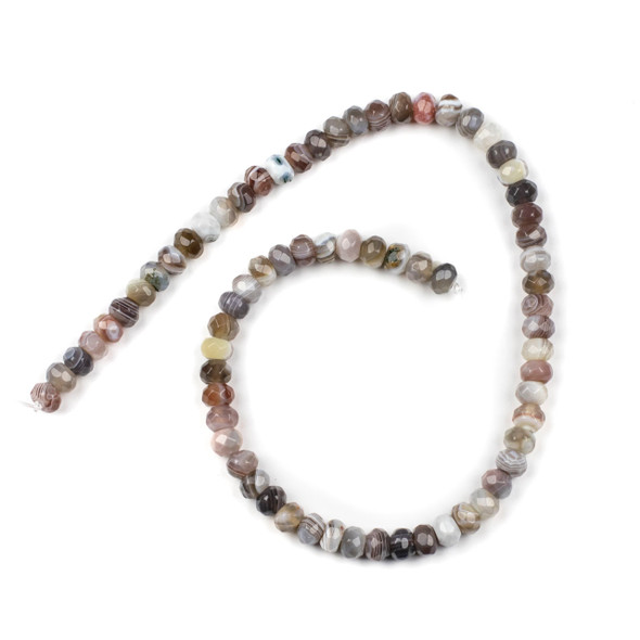Botswana Agate 4x6mm Faceted Rondelle Beads - 15.5 inch strand