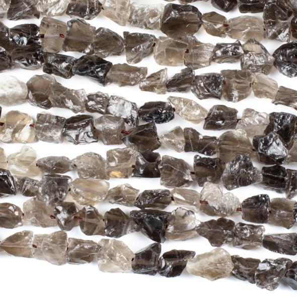 Smoky Quartz 8-12mm Rough Nugget Beads - 16 inch strand