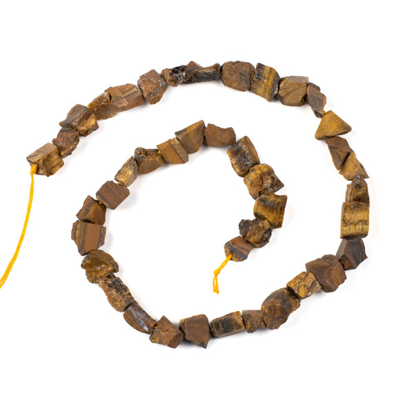 Yellow Tigereye 8-12mm Rough Nugget Beads - 16 inch strand