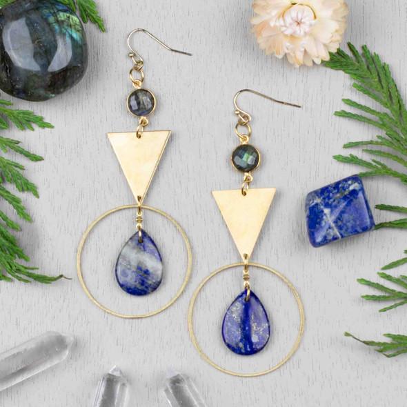 Navy Triangle Hoop Earrings - #28