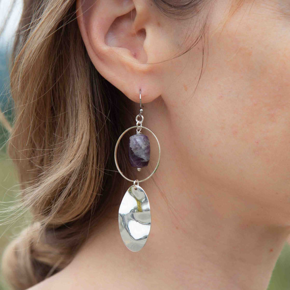 Purple and Silver Earrings - #29