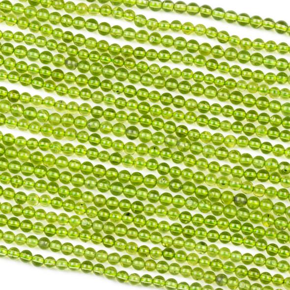 Peridot 3mm Round Beads - 15.5 inch strand