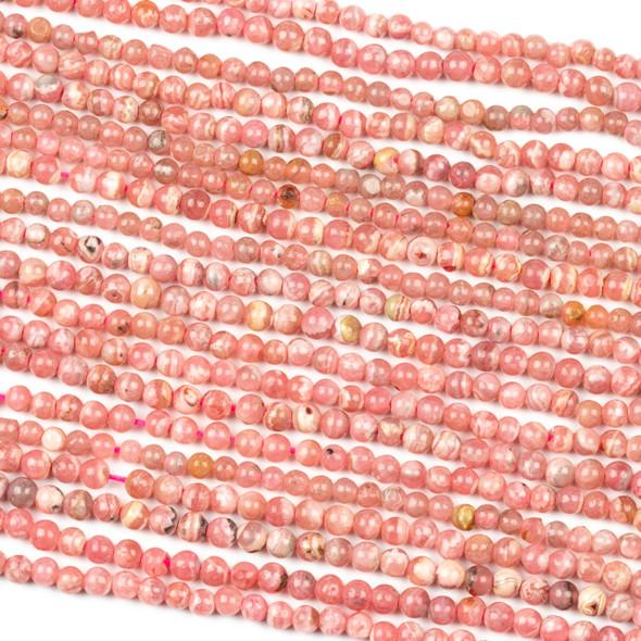 Rhodochrosite 3mm Round Beads - 15.5 inch strand