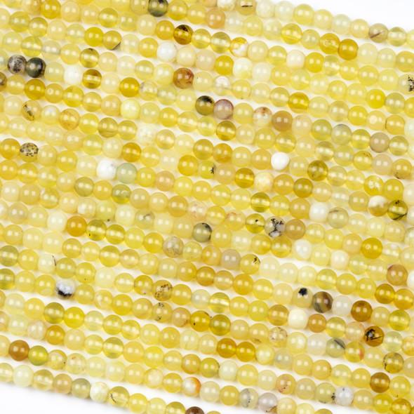 Yellow Opal 4mm Round Beads - 16 inch strand