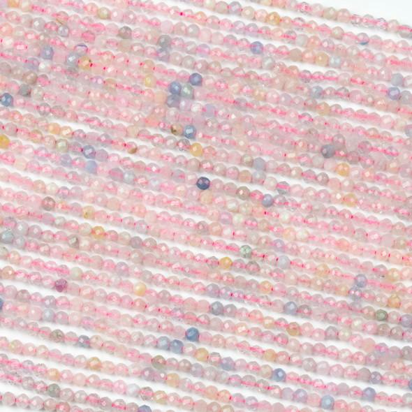 Morganite 2mm Round Beads - 15 inch strand