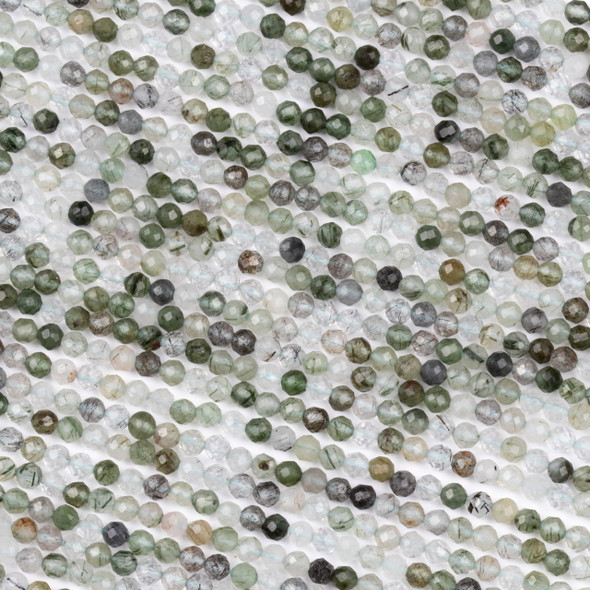 Green Rutilated Quartz 3.5mm Faceted Round Beads - 15 inch strand