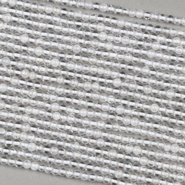 Clear Quartz 3mm Round Beads - 15 inch strand