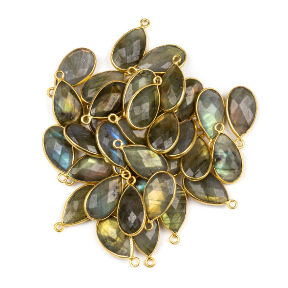 Labradorite approximately 9x18mm Teardrop Drop with a Gold Plated Brass Bezel - 1 per bag