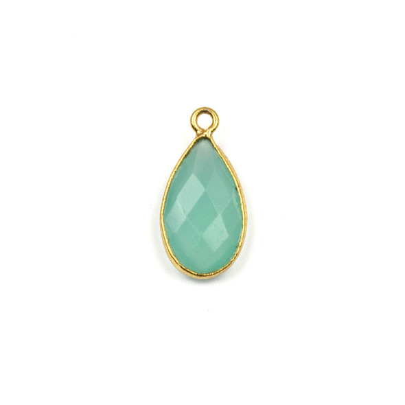 Aqua Chalcedony approximately 9x18mm Teardrop Drop with a Gold Plated Brass Bezel - 1 per bag