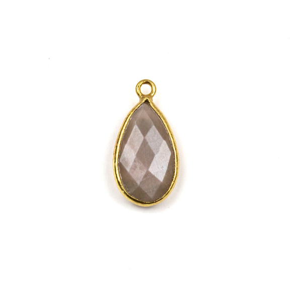 Mystic Moonstone approximately 9x18mm Teardrop Drop with a Gold Plated Brass Bezel - 1 per bag