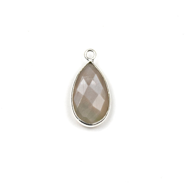 Mystic Moonstone approximately 9x18mm Teardrop Drop with a Silver Plated Brass Bezel - 1 per bag