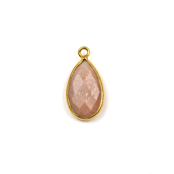 Peach Moonstone approximately 9x18mm Teardrop Drop with a Gold Plated Brass Bezel - 1 per bag