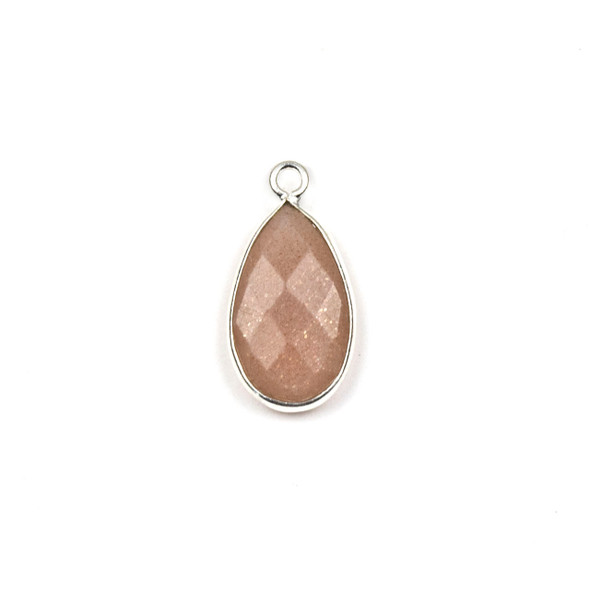 Peach Moonstone approximately 9x18mm Teardrop Drop with a Silver Plated Brass Bezel - 1 per bag
