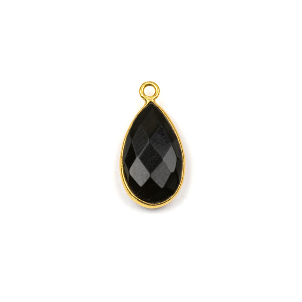 Onyx approximately 9x18mm Teardrop Drop with a Gold Plated Brass Bezel - 1 per bag