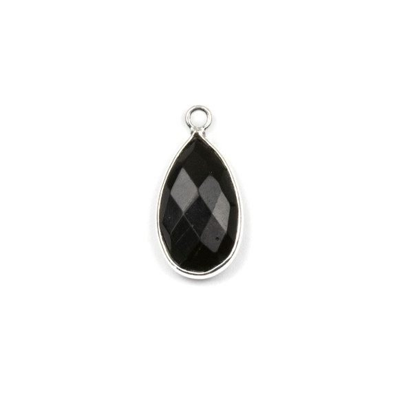 Onyx approximately 9x18mm Teardrop Drop with a Silver Plated Brass Bezel - 1 per bag