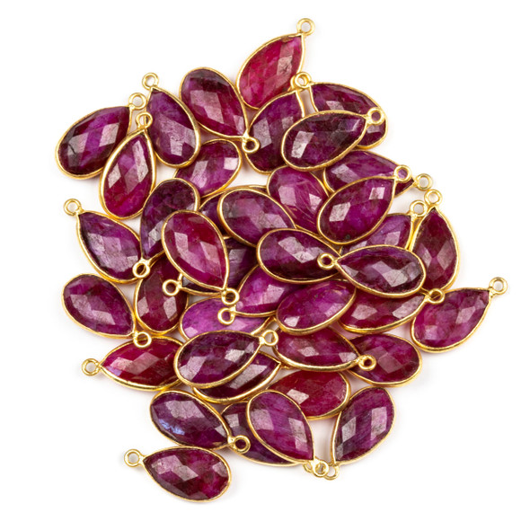 Ruby approximately 9x18mm Teardrop Drop with a Gold Plated Brass Bezel - 1 per bag